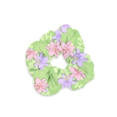 Lily Flowers Green Plant Natural Velvet Scrunchie