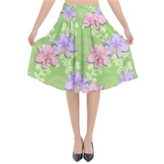 Lily Flowers Green Plant Natural Flared Midi Skirt by Pakrebo