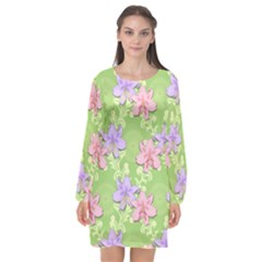 Lily Flowers Green Plant Natural Long Sleeve Chiffon Shift Dress
