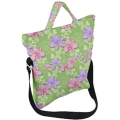 Lily Flowers Green Plant Natural Fold Over Handle Tote Bag by Pakrebo