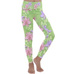Lily Flowers Green Plant Natural Kids  Lightweight Velour Classic Yoga Leggings by Pakrebo