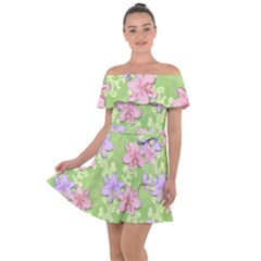 Lily Flowers Green Plant Natural Off Shoulder Velour Dress