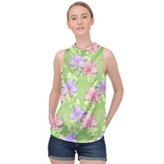 Lily Flowers Green Plant Natural High Neck Satin Top