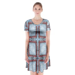 Pattern Cross Geometric Shape Short Sleeve V Neck Flare Dress