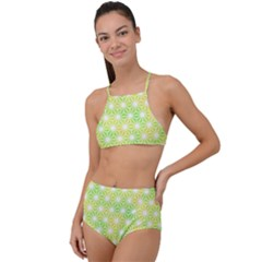 Traditional Patterns Hemp Pattern Green High Waist Tankini Set
