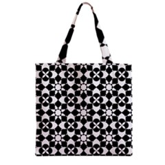 Mosaic Floral Repeat Pattern Grocery Tote Bag