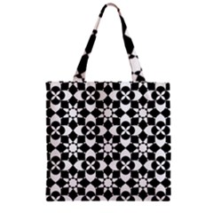 Mosaic Floral Repeat Pattern Zipper Grocery Tote Bag