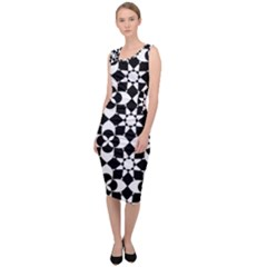 Mosaic Floral Repeat Pattern Sleeveless Pencil Dress