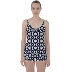 Mosaic Floral Repeat Pattern Tie Front Two Piece Tankini by Pakrebo