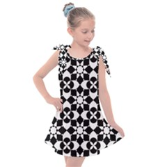 Mosaic Floral Repeat Pattern Kids  Tie Up Tunic Dress