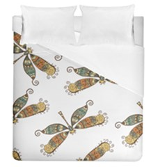 Pattern Dragonfly Background Duvet Cover (queen Size)