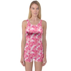 Phlox Spring April May Pink One Piece Boyleg Swimsuit