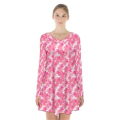 Phlox Spring April May Pink Long Sleeve Velvet V Neck Dress