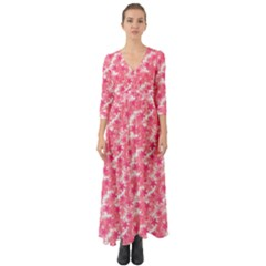 Phlox Spring April May Pink Button Up Boho Maxi Dress by Pakrebo