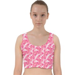 Phlox Spring April May Pink Velvet Racer Back Crop Top
