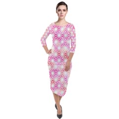 Traditional Patterns Hemp Pattern Quarter Sleeve Midi Velour Bodycon Dress