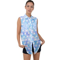 Traditional Patterns Hemp Pattern Sleeveless Chiffon Button Shirt