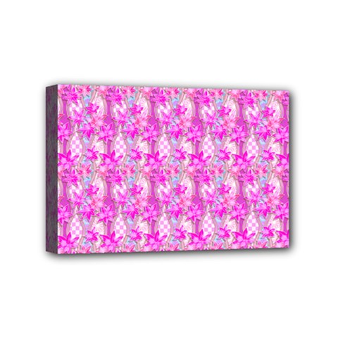 Maple Leaf Plant Seamless Pattern Pink Mini Canvas 6  X 4  (stretched)