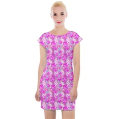 Maple Leaf Plant Seamless Pattern Pink Cap Sleeve Bodycon Dress by Pakrebo