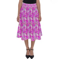 Maple Leaf Plant Seamless Pattern Pink Perfect Length Midi Skirt by Pakrebo