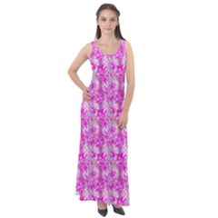 Maple Leaf Plant Seamless Pattern Pink Sleeveless Velour Maxi Dress