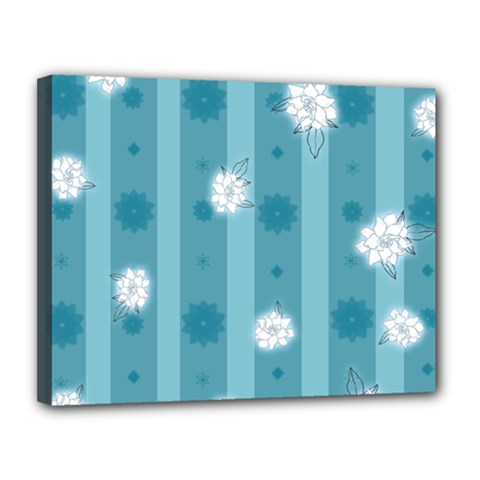 Gardenia Flowers White Blue Canvas 14  X 11  (stretched)