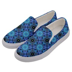 Blue Tile Wallpaper Texture Men s Canvas Slip Ons by Pakrebo