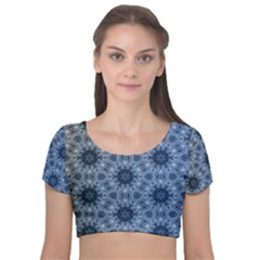 Pattern Patterns Seamless Design Velvet Short Sleeve Crop Top