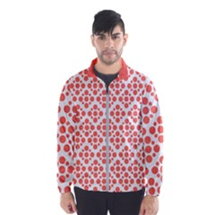 Floral Dot Series   Living Coral And White Windbreaker (men)