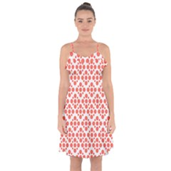 Floral Dot Series   Living Coral And White Ruffle Detail Chiffon Dress