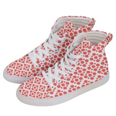 Floral Dot Series   Living Coral And White Women s Hi Top Skate Sneakers by TimelessFashion
