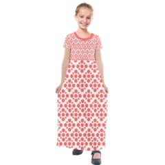 Floral Dot Series   Living Coral And White Kids  Short Sleeve Maxi Dress by TimelessFashion