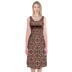 Pattern Decoration Art Ornate Midi Sleeveless Dress