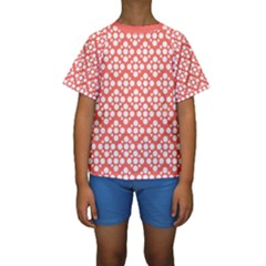 Floral Dot Series   White And Living Coral Kids  Short Sleeve Swimwear