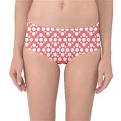 Floral Dot Series   White And Living Coral Mid Waist Bikini Bottoms by TimelessFashion