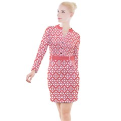Floral Dot Series   White And Living Coral Button Long Sleeve Dress
