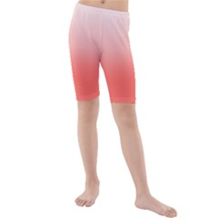 Coral To White Kids  Mid Length Swim Shorts