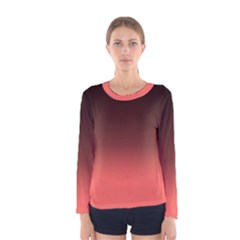 Coral To Black  Women s Long Sleeve Tee