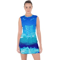 Blue Sky Artwork Drawing Painting Lace Up Front Bodycon Dress