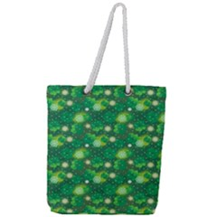 4 Leaf Clover Star Glitter Seamless Full Print Rope Handle Tote (large)