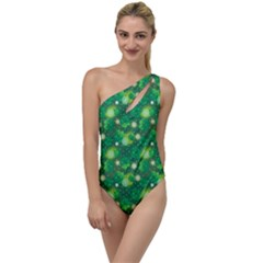 4 Leaf Clover Star Glitter Seamless To One Side Swimsuit by Pakrebo