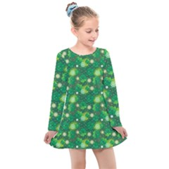 4 Leaf Clover Star Glitter Seamless Kids  Long Sleeve Dress