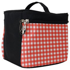 Grid In Living Coral Make Up Travel Bag (big) by TimelessFashion