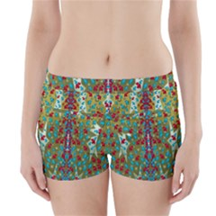 Raining Paradise Flowers In The Moon Light Night Boyleg Bikini Wrap Bottoms