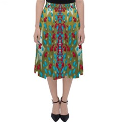 Raining Paradise Flowers In The Moon Light Night Classic Midi Skirt