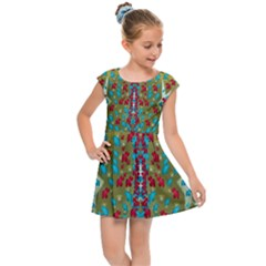 Raining Paradise Flowers In The Moon Light Night Kids  Cap Sleeve Dress by pepitasart