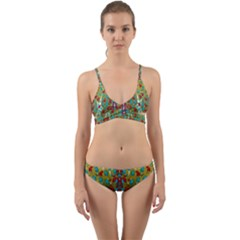 Raining Paradise Flowers In The Moon Light Night Wrap Around Bikini Set