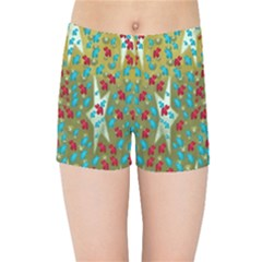 Raining Paradise Flowers In The Moon Light Night Kids  Sports Shorts by pepitasart
