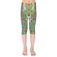 Raining Paradise Flowers In The Moon Light Night Kids  Capri Leggings  by pepitasart