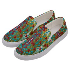 Raining Paradise Flowers In The Moon Light Night Men s Canvas Slip Ons by pepitasart